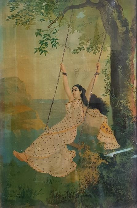 Figurative Oleograph Art Painting title Mohini by artist Raja Ravi Varma