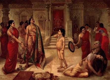 Figurative Oil Art Painting title 'Mohini Rukhmangadha' by artist Raja Ravi Varma Reproduction
