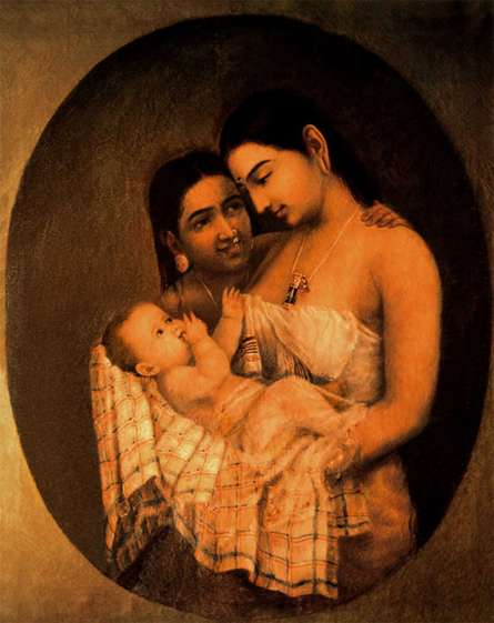Mother Child | Painting by artist Raja Ravi Varma Reproduction | oil | Canvas