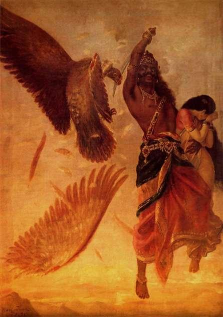Raja Ravi Varma Reproduction | Oil Painting title Ravana Abducting Sita on Canvas | Artist Raja Ravi Varma Reproduction Gallery | ArtZolo.com