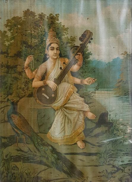 Religious Oleograph Art Painting title 'Saraswati 7' by artist Raja Ravi Varma