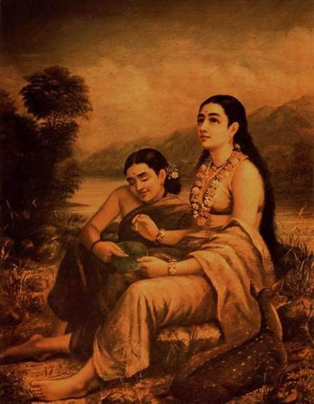 Figurative Oil Art Painting title Shakumtalas Love Letter To Dushyanta by artist Raja Ravi Varma Reproduction