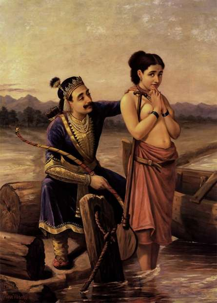 Shantanoo And Matsyagandha | Painting by artist Raja Ravi Varma Reproduction | oil | Canvas