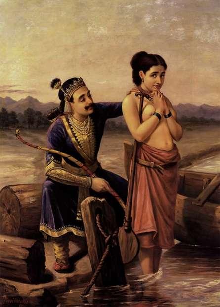Shantanoo And Matsyagandha   Painting by artist Raja Ravi Verma Reproduction   oil   Canvas
