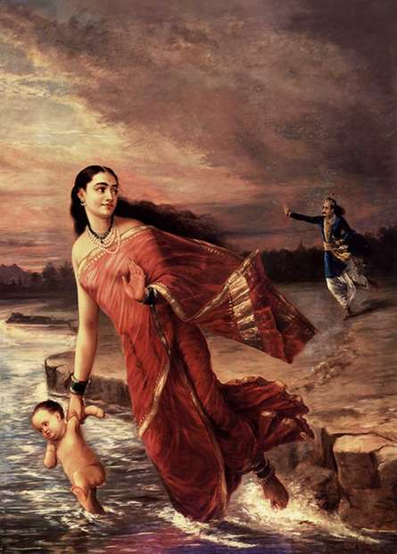 Figurative Oil Art Painting title Shanthanoo And Ganga by artist Raja Ravi Varma Reproduction