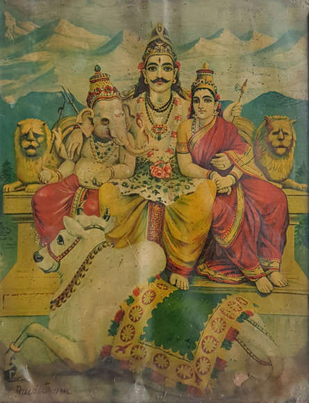 Religious Oleograph Art Painting title 'Shiva Parvati And Ganesha On Mount Kaila' by artist Raja Ravi Varma