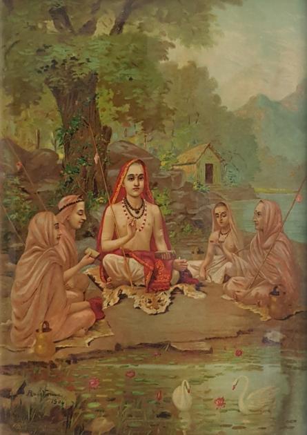 Religious Oleograph Art Painting title Shrimad Guru Adi Shankaracharya by artist Raja Ravi Varma