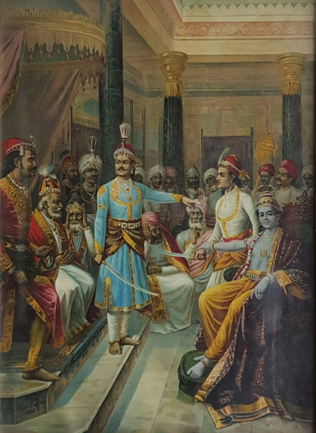 Religious Oleograph Art Painting title Sri Krishna As Envoy by artist Raja Ravi Varma