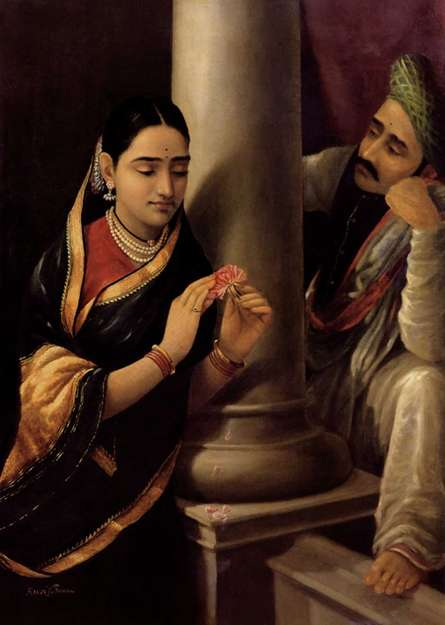 Figurative Oil Art Painting title Stolen Interview by artist Raja Ravi Varma Reproduction