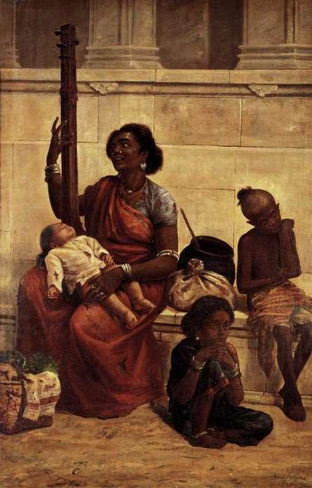 Figurative Oil Art Painting title 'The Gypsies' by artist Raja Ravi Varma Reproduction