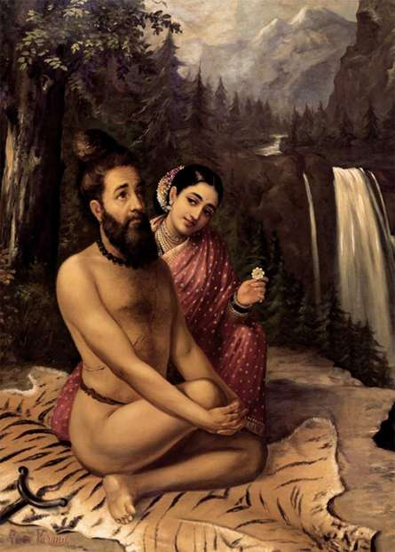 Vishwamitra And Menaka | Painting by artist Raja Ravi Verma Reproduction | oil | Canvas