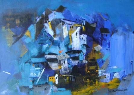 Sunil Bambal | Acrylic Painting title Portrait Of Village II on Canvas | Artist Sunil Bambal Gallery | ArtZolo.com