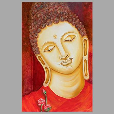 Religious Oil Art Painting title Buddha Painting by artist Ganesh Badiger