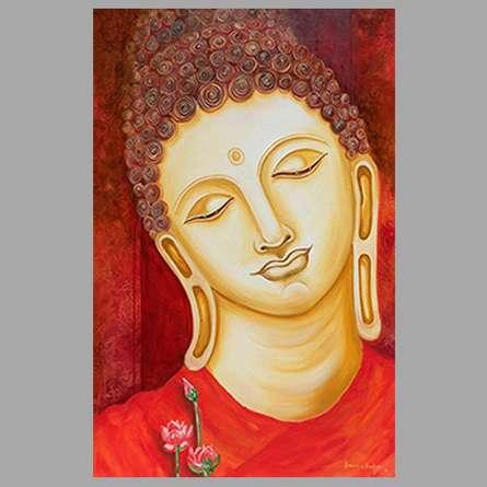Ganesh Badiger | Oil Painting title Buddha Painting on Canvas | Artist Ganesh Badiger Gallery | ArtZolo.com