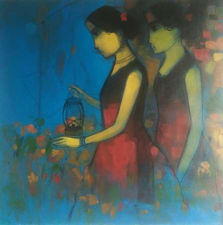 Flowery Path | Painting by artist Sachin Sagare | acrylic | Canvas