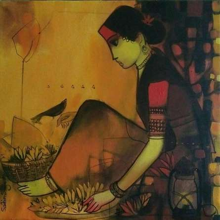 Flower Seller 1 | Painting by artist Sachin Sagare | acrylic | Canvas