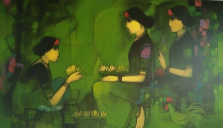 Figurative Acrylic Art Painting title Three Flower Women by artist Sachin Sagare