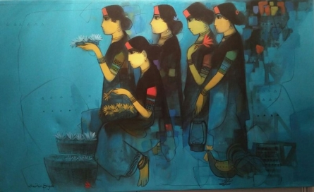Figurative Acrylic Art Painting title Untitled by artist Sachin Sagare