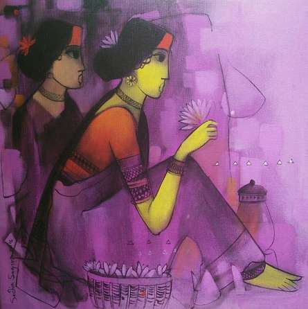 Figurative Acrylic Art Painting title Purple Gaze by artist Sachin Sagare