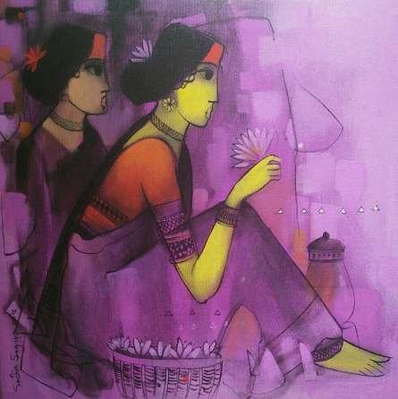 Purple Gaze | Painting by artist Sachin Sagare | acrylic | Canvas