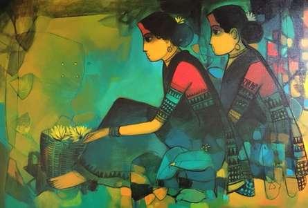 Sachin Sagare | Acrylic Painting title Flower Seller 4 on Canvas | Artist Sachin Sagare Gallery | ArtZolo.com