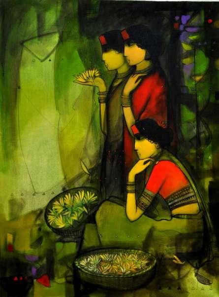 Flower Women | Painting by artist Sachin Sagare | acrylic | Canvas