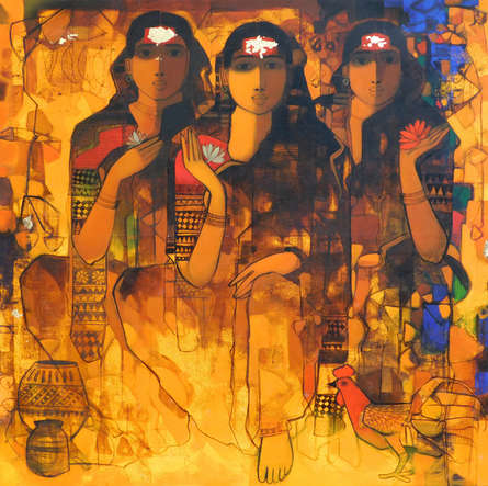 Figurative Acrylic Art Painting title 'Gossiping Women 1' by artist Sachin Sagare