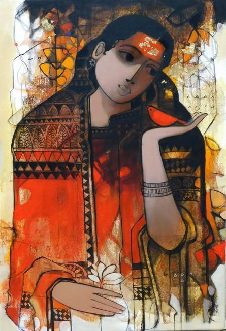 Figurative Acrylic Art Painting title Simplicity 2 by artist Sachin Sagare