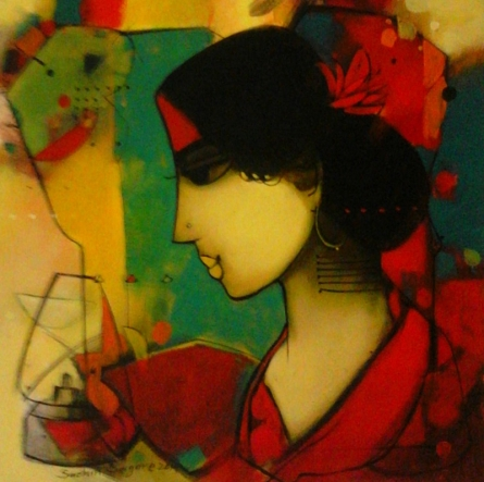Figurative Acrylic Art Painting title 'The Girl' by artist Sachin Sagare