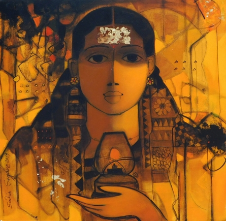 Figurative Acrylic Art Painting title 'The Indian Woman 2' by artist Sachin Sagare