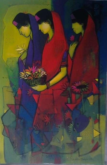 Sachin Sagare | Acrylic Painting title Three Women on Canvas | Artist Sachin Sagare Gallery | ArtZolo.com