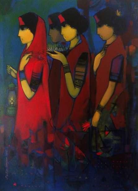 Figurative Acrylic Art Painting title Three Women by artist Sachin Sagare