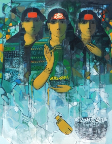 Figurative Acrylic Art Painting title 'Three Women 2' by artist Sachin Sagare