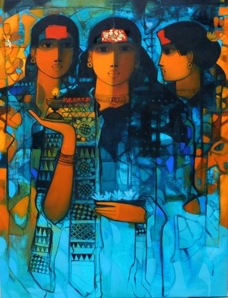 Figurative Acrylic Art Painting title 'Three Women 3' by artist Sachin Sagare