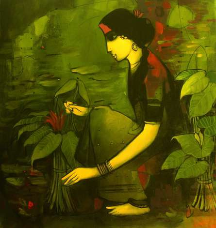 Figurative Acrylic Art Painting title Woman With Plant by artist Sachin Sagare