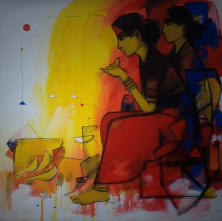 Women And The Birds | Painting by artist Sachin Sagare | acrylic | Canvas