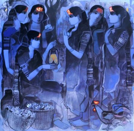 Figurative Acrylic Art Painting title 'Women Gossiping 6' by artist Sachin Sagare