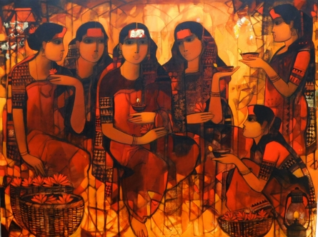 Figurative Acrylic Art Painting title 'Women Gossiping 7' by artist Sachin Sagare