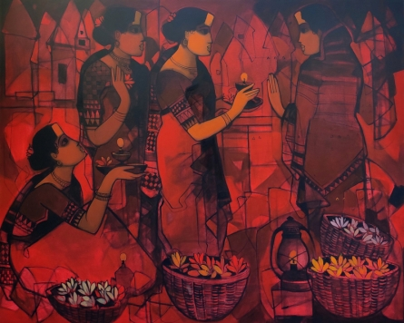 Figurative Acrylic Art Painting title 'Women In Group 1' by artist Sachin Sagare