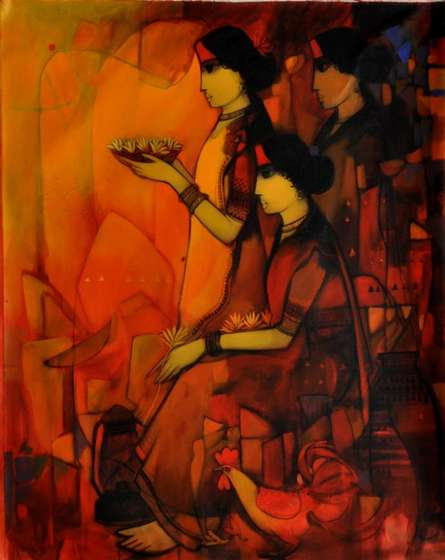 Women With Flowers | Painting by artist Sachin Sagare | acrylic | Canvas