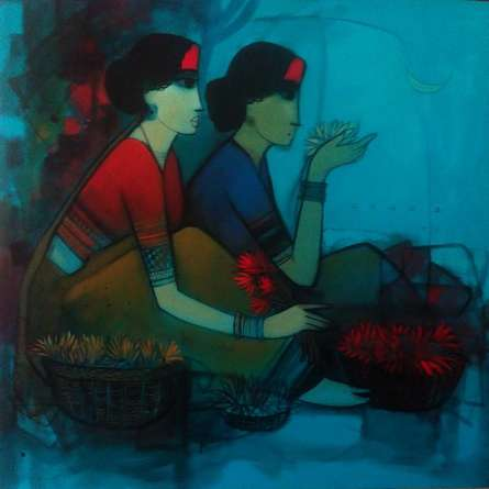 Figurative Acrylic Art Painting title Women With Lotus by artist Sachin Sagare