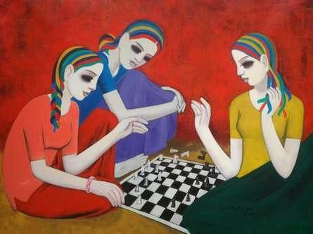 Figurative Acrylic Art Painting title Girls by artist Anil Mahajan