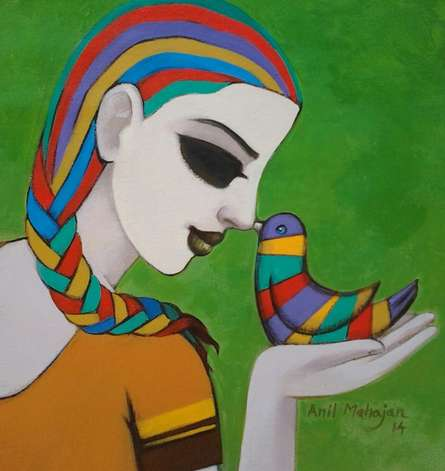 Figurative Acrylic Art Painting title Relation I by artist Anil Mahajan