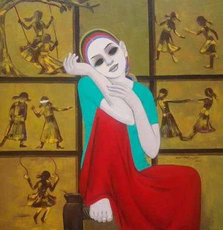 Anil Mahajan | Acrylic Painting title Sweet Memories on Canvas | Artist Anil Mahajan Gallery | ArtZolo.com