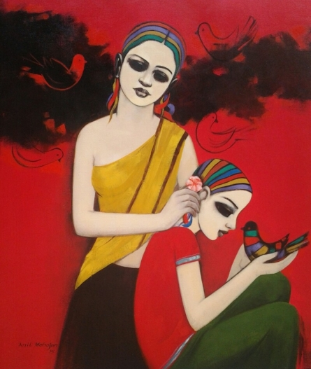 With Birds | Painting by artist Anil Mahajan | acrylic | Canvas