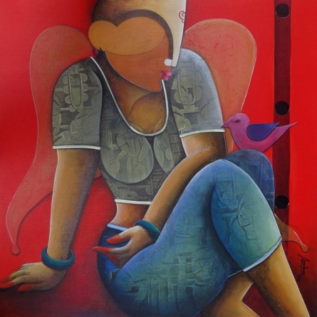 Figurative Acrylic Art Painting title 'In a conversation' by artist Anupam Pal