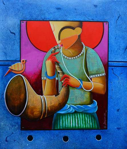 contemporary Acrylic Art Painting title Unsong melody by artist Anupam Pal