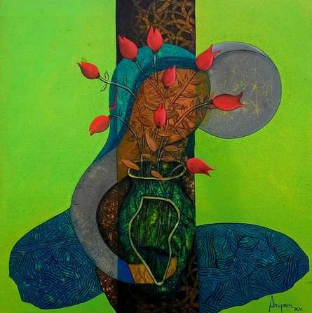 Figurative Acrylic Art Painting title 'Blossoming mind2' by artist Anupam Pal