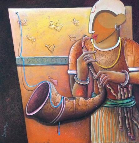 Figurative Acrylic Art Painting title 'Rhythm Devine 13' by artist Anupam Pal
