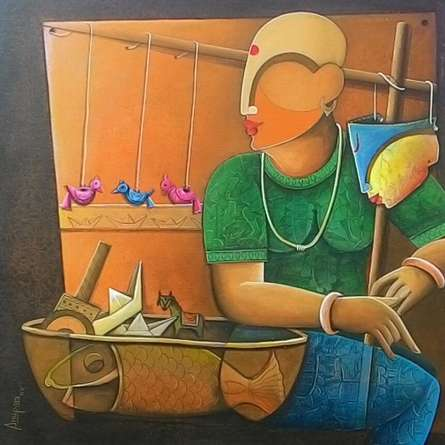 Figurative Acrylic Art Painting title Toyseller 2 by artist Anupam Pal